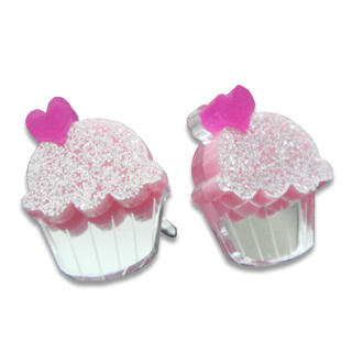 Sweet Glitter Pink Mirror Cupcake Stud Earrings