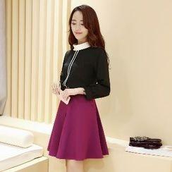 Romantica - Set: Contrast-Trim Top + A-Line Skirt