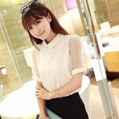 Dora - Sheer Short-Sleeve Blouse
