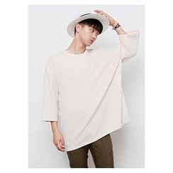 HOTBOOM - Round-Neck Elbow-Sleeve Loose-Fit T-Shirt