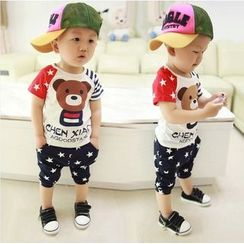 POMME - Kids Set: Bear Print Short Sleeve T-Shirt + Star Print Cropped Pants