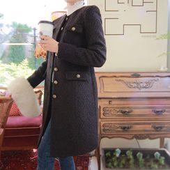 LEELIN - Metallic-Button Wool Blend Coat