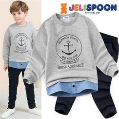 JELISPOON - Boys Set: Layered-Hem Sweatshirt + Sweatpants