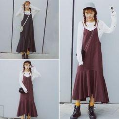 Lokin - 纯色荷叶摆吊带裙