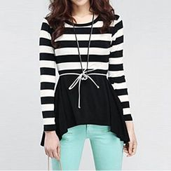 Jolly Club - Long-Sleeve Paneled Hem Stripe Top