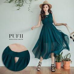 PUFII - 胸镂空不规则下摆连身裙雪纺长洋装