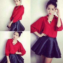 QZ Lady - Set: Elbow-Sleeve Shirt + A-Line Skirt