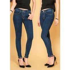 J-ANN - Stitched-Detail Skinny Jeans