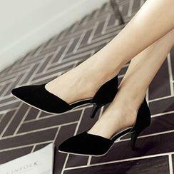 Sidewalk - Pointy D'Orsay Kitten Heels