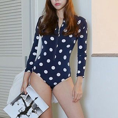 DJ Design - Long-Sleeve Dotted Swimsuit
