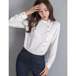 GUMZZI - Mandarin-Collar Buttoned Blouse