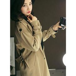 HOTPING - Epaulette-Shoulder Double-Breasted Trench Coat