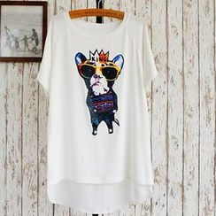 JVL - Short-Sleeve Dog-Print Long T-Shirt