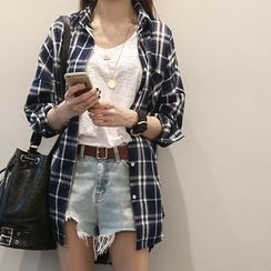 NANING9 - Cotton Blend Check Shirt