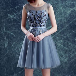 Angel Bridal - Sleeveless Applique Mini Prom Dress