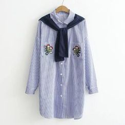 Suzette - Mock Two-Piece Striped Long Shirt