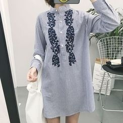 Lyrae - 刺繡立領長款襯衫