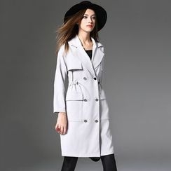 Y:Q - Plain Long Trench Coat
