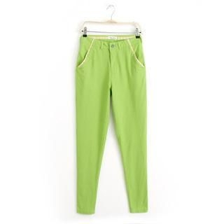 JVL - Embroidered-Trim Pants