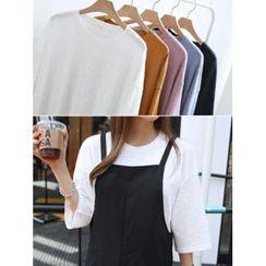 hellopeco - Drop-Shoulder 3/4-Sleeve T-Shirt