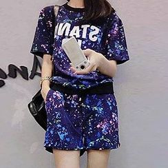 YOSH - Set: Paint Splattered Short-Sleeve T-Shirt + Sweat Shorts