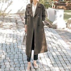 Seoul Fashion - Double-Breasted Long Coat with Belt