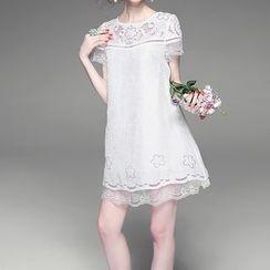 Alaroo - Embroidered Short-Sleeve Silk Dress