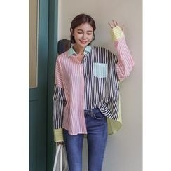 PPGIRL - Color-Block Striped Shirt