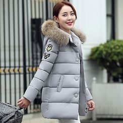 Rosehedge - Furry Trim Patch Embroidered Hooded Long Padded Coat