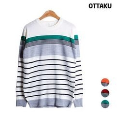 Seoul Homme - Round-Neck Stripe Sweater