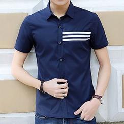 Evzen - Stripe Panel Short-Sleeve Shirt