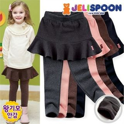 JELISPOON - Girls Inset Flare Skirt Fleece-Lined Leggings