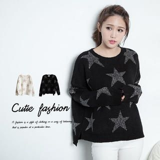 CUTIE FASHION - Glitter-Star Loose-Fit Sweater