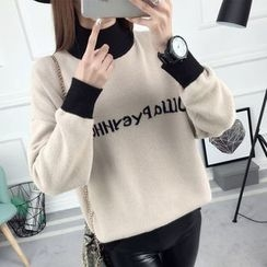 anzoveve - Lettering High Neck Sweater