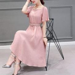 NINETTE - Short-Sleeve Belted Midi Dress