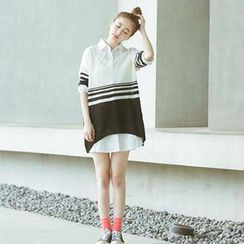CatWorld - Elbow-Sleeve V-Neck Striped Knit Top