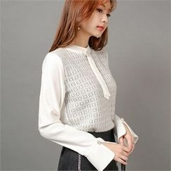 Styleberry - Lace Panel Long Sleeve Blouse