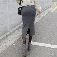 Seoul Fashion - Wool Blend Slit-Back Midi Skirt