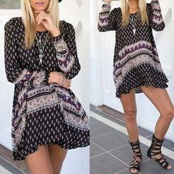 千朵 - 長袖圖案連衣裙