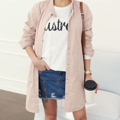 DANI LOVE - Round-Hem Snap-Button Cotton Jacket