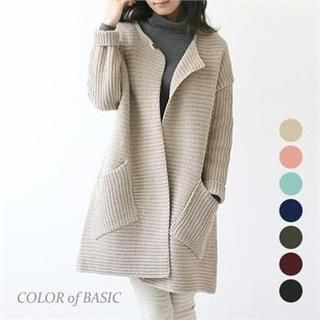 COLOR of BASIC - Wool-Blend Collarless Open-Front Knit Coat