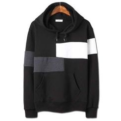 Seoul Homme - Hooded Color-Block Pullover