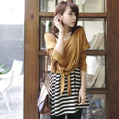Tokyo Fashion - Set: Sleeveless Stripe-Panel A-Line Tunic + Long-Sleeve Tie-Front Top