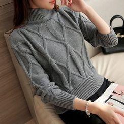 Ageha - Ribbed Mock-neck Knit Top