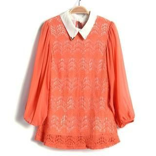 9mg - Metal-Tip Lace Blouse