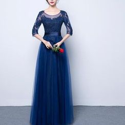Luxury Style - Lace Trim Elbow Sleeve Evening Gown