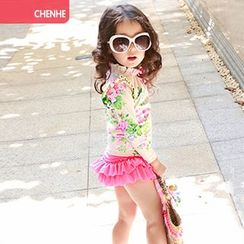 Morning Dew - Kids Set: Floral Print Rashguard + Swim Skirt + Swim Cap