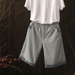 Rosadame - 麻布棉质翻边短裤