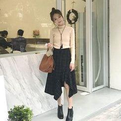Alfie - Asymmetrical Ruffle Check High-Waist A-Line Skirt