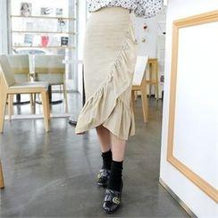 clicknme - Frill-Trim Midi Skirt